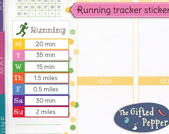 Daily running tracker stickers [Printable]. Run, jog, exercise, fitness, log, week. Erin Condren planner.
