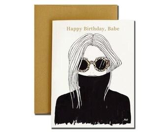 Woman Illustration Birthday Card / Fashion Illustration Card / Fashion Birthday Card/ Woman Portrait Card/ Birthday Card for Her/ Blank Card