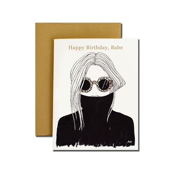 Woman Illustration Birthday Card Fashion Illustration Card – Fashion Birthday Cards