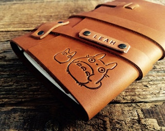 50% OFF ... Premium Leather Totoro Journal... Refillable Cowhide Notebook... Handmade in Portland, Oregon