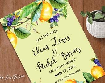 "Watercolor Spring Lemon Wedding Save the date ""Elena"" - Printable card (DIY)"