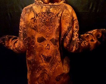 dark minds skull hoodie with sacred geometry, crop circles, fractal and all things PSYKODELIK (all sizes available)