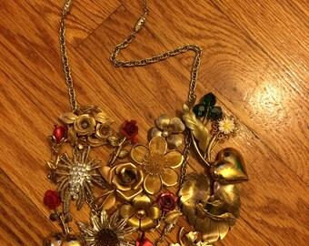 Vintage Brooch /Pins Statement Necklace