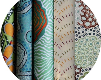 "JELLY ROLL  2.5"" X 44"" (6.5cm x 110cm) strips x 25 (5 different fabrics) - Australian Aboriginal Art Fabric - Green #1"