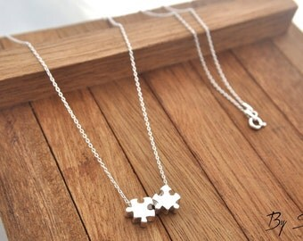 Sterling Silver two Puzzle Piece Shaped Charm Necklace, Puzzle Piece Pendant Necklace, Puzzle Necklace, Puzzle Piece, Silver Puzzle two