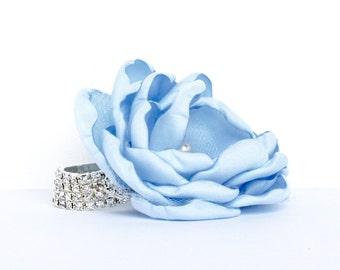 Blue Wrist Corsage , Light Blue Wrist Corsage , Light Blue Rhinestone Wedding Wrist Corsage