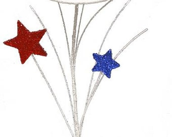 "12.5""L Glitter Hat/Star/ Pick/Wreath Enhancement/Patriotic Decor/Red-White-Blue/HJ0015"