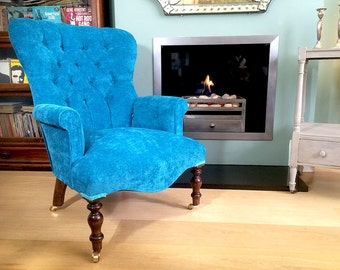 Mimi Teal Velvet Upholstered Armchair Hand Crafted in England