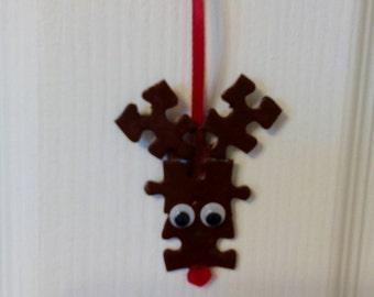 Recycled jigsaw puzzle Rudolf decoration