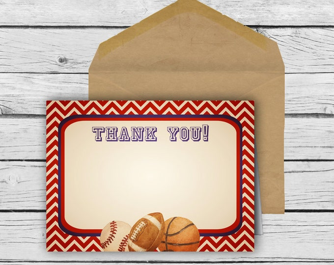 VINTAGE SPORTS Thank You Card Set, Positive Inspiration, Stationery, Thankful, Printed Stationery