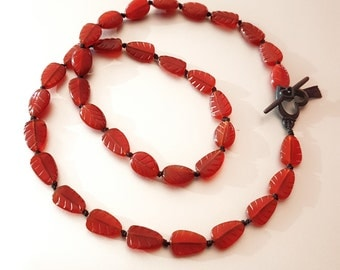 Hand Knotted Carved Carnelian Leaf NECKLACE With Matching Matt Black Heart Toggle And Black Silk Tassel