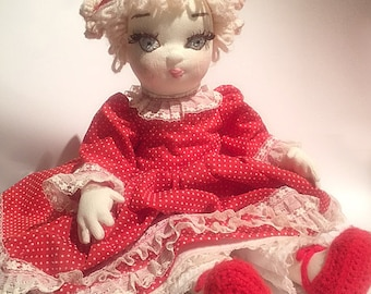 Vintage Soft Sculpture Cloth Doll with Embroidery Detail on Face