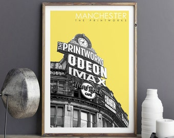 City Prints - Manchester Print - Travel Poster - The Printworks - Manchester Gift - Large Wall Art Prints