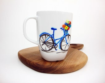 Navy Blue Bike Mug, Hand Painted Bike With Flowers, Cyclist, Blue Tea Cup, Colorful Mug, Flower Bouquet, Vintage Bike, Blue Bicycle Mug