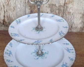 Vintage Bavarian blue and white cake stand