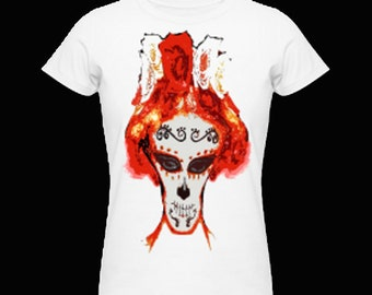 "frauenshirt with digital printing TotemMaske ""FiestaDeLosMuertos-OrleansRed"""