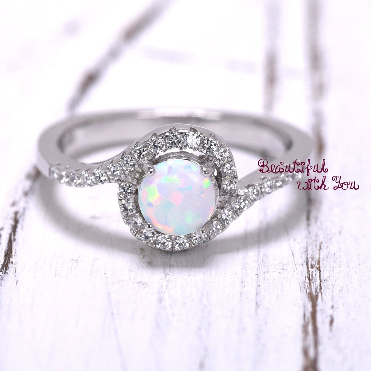 womens engagement ring silver lab opal ring by. Black Bedroom Furniture Sets. Home Design Ideas