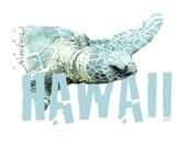 Puako Turtle - V-neck T-shirt – aqua color, exclusive design, unisex- made in Hawaii