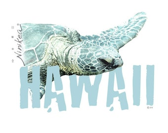 Puako Turtle - V-neck T-shirt – aqua color, exclusive design, unisex- made in Hawaii