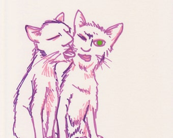 Cat People A4 Colour Pen Drawings