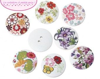 50 buttons 2.5 cm flower round