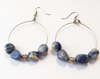 Denim Earring with silver accent
