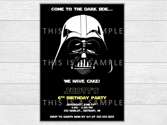 Star Wars invitation, star wars birthday, darth vader birthday, birthday invitation, darth vader invite, printable invite, digital download