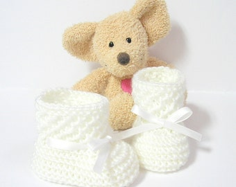 Hand knitted white baby booties size birth to 3 months by Tricotmuse