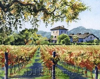 "Napa Vineyard Art Print - ""Vineyard Home"" - California Watercolor Painting - Signed by Artist DJ Rogers - Wall Decor"