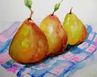 Pears painting, Fruit painting, original watercolor.