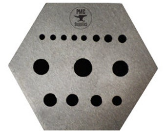 Hexagonal Riveting Stake w/ 15 Holes and 5 Serrations Jewelry Tool - FORM-0080