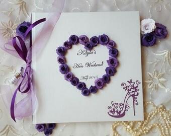 Personalised Hen Party Memory Book Rose Heart Wedding Guest Book Bridesmaid Night Photo Album Bachelorette Bridal Shower Keepsake Birthday