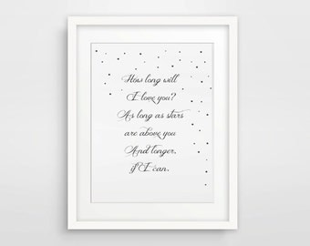How Long Will I Love You Print / Ellie Goulding / Love Wall Art / Song Lyrics Print / Engagement Gift For Fiance Fiancee