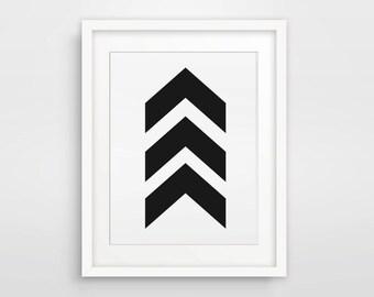 Geometric Art, Wall Print, Black Chevrons, Chevron Wall Art, Black and White Chevron Print, Black Chevron Arrow Print, Black Arrow Print