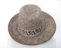 Vintage 70's Wool Blend Hat Unisex Southwestern Ethnic Tribal Boho Cowboy Hipster Textured Ivory/Brown/Black Retro 70's Style