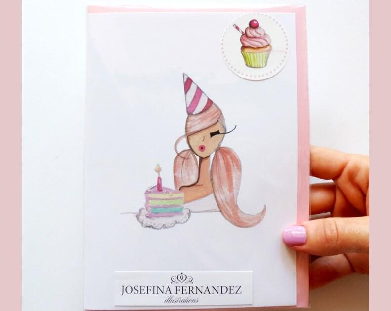 Happy Birthday card Fashion Illustration greeting card Chic – Fashion Birthday Cards