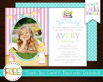 Spa Invitation, Spa Birthday Invitation, Spa Invite, Makeover Birthday, Glamor Party, Slumber Party, Spa Party +FREE Thank You Card!