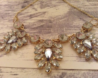 Crystal and Gold Statement Necklace, Crystal and Gold Bin Necklace