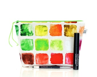 Watercolor zipper pouch, Artist Makeup bag, Large Pencil case, Cosmetic case, Colorful, Wash bag, Make up organizer, Lipstick holder, Gift