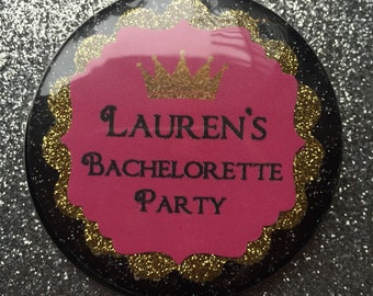 Bachelorette Party Buttons (12) ..Bridal Party..Bachelorette Party Favors..customize with Brides's name
