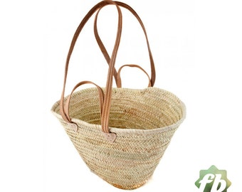french baskets Natural Basket Flat Leather Handle Double : French Basket, Moroccan Basket, straw bag, french market basket, Beach Bag