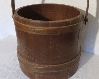 Wood Firkin with Handle without Lid,  Americana Decor, Wood Sugar Bucket, Vintage Wood Pail, Farmhouse Decor