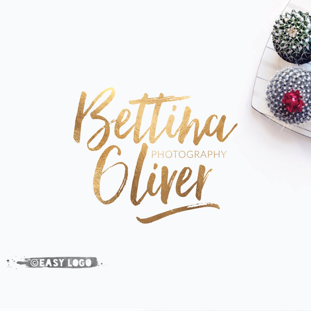 Gold Watercolor Calligraphy Logo Text Only Business Logo