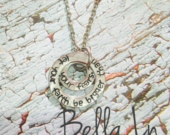 Let your faith be bigger than your fears, stacked washer necklace
