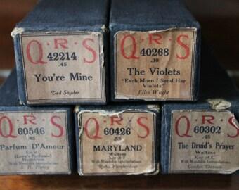 QRS Piano Rolls, Set of Five, The Violets, You re Mine, Druids Prayer, Maryland, Parfum D'Amour