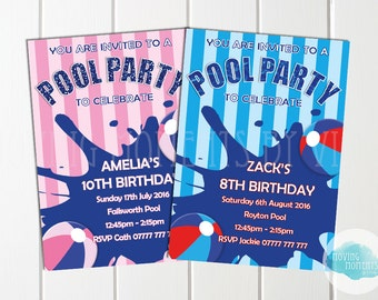 Personalised Pool Party Birthday Invitations with Envelopes
