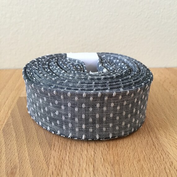 "Quilt Binding- Robert Kaufman Union Chambray Polka Dots 1.25"" double-fold cotton quilt binding- Denim"