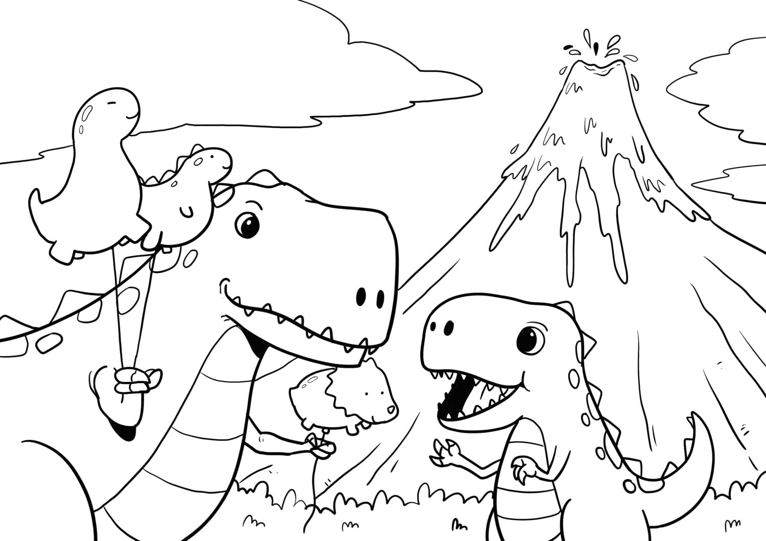 dinosaurs mom and son tyrannosaurus rex t rex coloring page