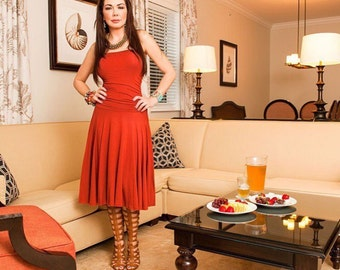 Strapless Rust Colored Midi Dress