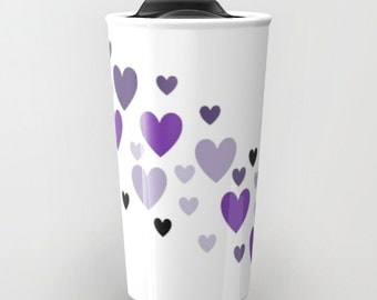 Purple Lavender Black Hearts Ceramic Travel Mug 12 ounces Press-in suction plastic lid double-walled travel mug lid travel mug ceramic